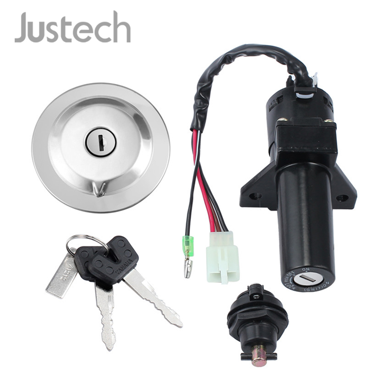 Justech Ignition Switch Fuel Gas Cap Cover Seat Lock Key Set For Yamaha YBR 125 02-14 Black/White Wire Car Moto Accessories