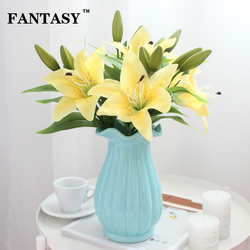 Yellow Lilies Artificial Flowers Real Touch White Flower Decoration Wedding Fake Lily Branch 4 Heads Red Marriage Wreath
