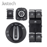 Justech 6Pcs Switch Set 5ND959857 5ND941431B 5ND959565B 5ND959855 For VW Passat B6 CC Golf MK6 Jetta Mirror,Window,Light Switch