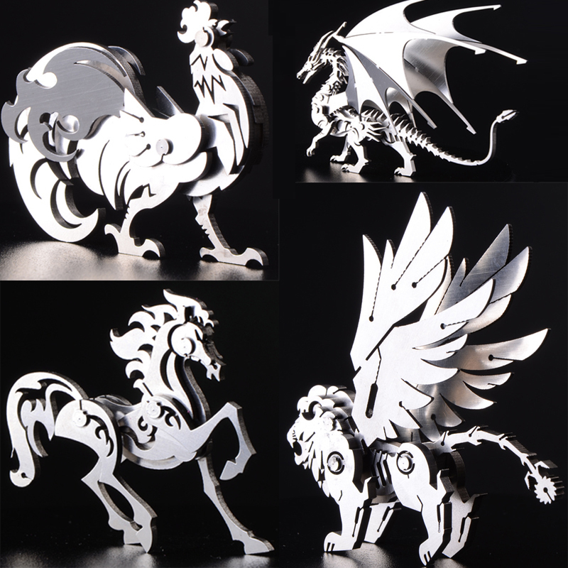 High Quality Elk/Dragon Animal Stainless Steel 3D Metal Kits Puzzle Assembling Model Creative Birthday Decoration Toy