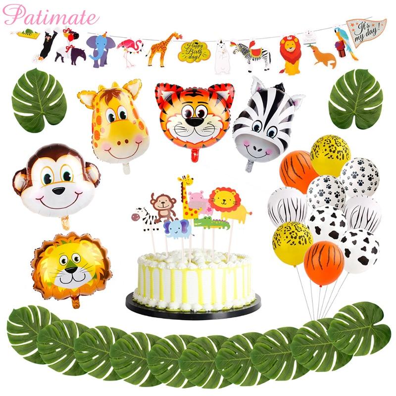 Patimate Animal Ballons Birthday Jungle Safari Party Decor Balloon Jungle Theme Party Balloons Supplies For Kids Children