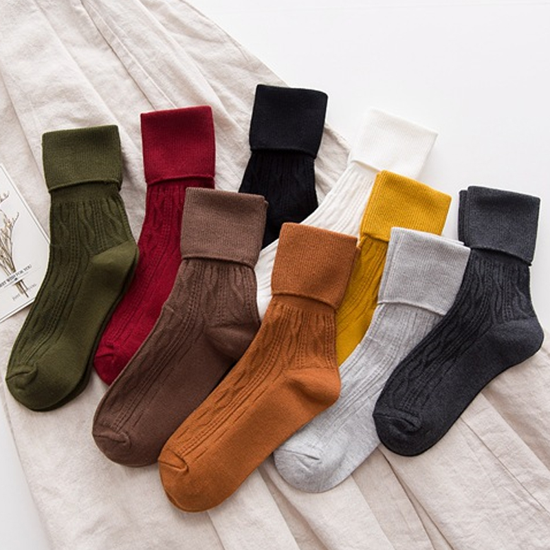 Fashion 1Pair New Cotton Thick Women Socks Soild Color Casual Warm Winter Breathable Striped High Socks Ladies
