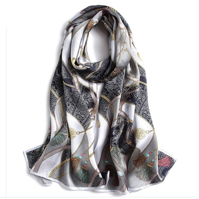 New Pattern Real Silk Oil Painting Will Long A Piece Of Cloth Woman East Beijing Mulberry Silk Shawl Scarf Send Gifts Top Grade