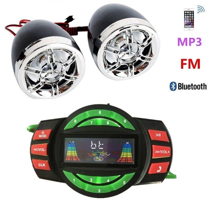 Синий 12V мотоцикл сигнализация радио мотоцикл Bluetooth MP3 плеер динамик аварийный сигнал с креплением на руле радио