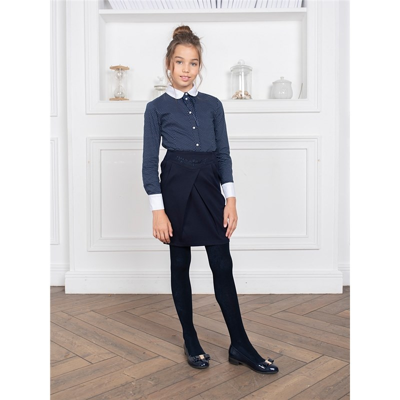 [Available with 10.11] Skirt knitted girls lace insert fitted faux leather skirt