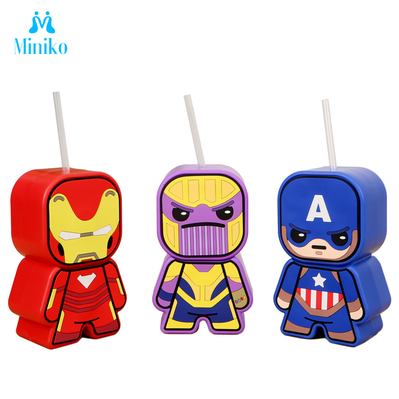 Marvel Avenger Captain America Thanos Drink Cup Iron Man Action Figure Water Bottle With Straw Children Мстители Gift Toys