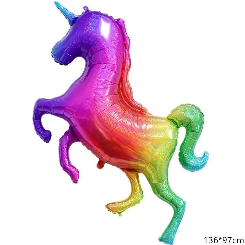 1pc Large 136cm Colorful Unicorn Foil Balloons Unicorn Party Decorations Kids Babyshower Gender Reveal Supplies Children's Toy