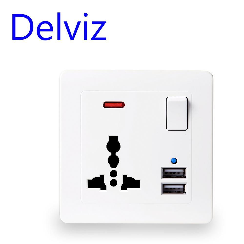 Delviz EU Standard Outlet, 2.1A Dual USB Charger Speedy Port, LED Indicator Wall Power Socket,13A Universal 3 Hole Socket 86type