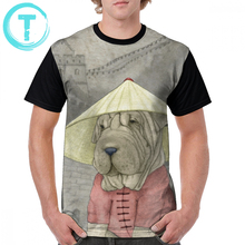 Shar Pei T Shirt On The Great Wall T-Shirt Short Sleeves Awesome Graphic Tee Printed Oversized Tshirt