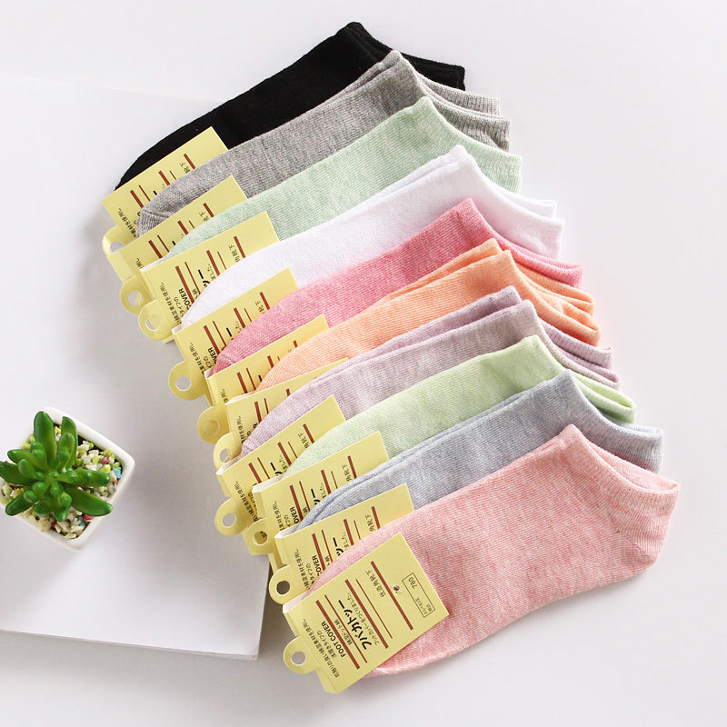Fashion Summer Candy Color Short Women Ankle Socks Cotton Casual Springs Lady Stripes Students Girls Boat Socks