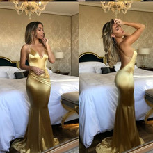 Gold Mermaid Prom Dresses 2019 vestidos de fiesta largos elegantes gala Sexy Backless Imported Party Dress V Neck Formal Gown