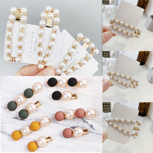 Sale 1PC Ball Women Hairpins Geometric Crystal Sweet Rectangle Pearl Candy Color Girls Hair Clips