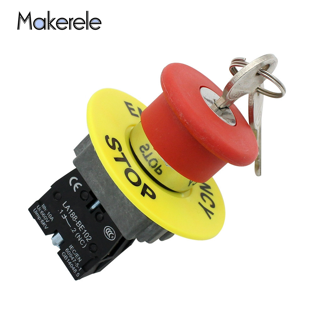 KEY Emergency Stop Switch Button Metal Emergency Stop Mushroom Head Key Switch LA188-BS142 For Touch Screen Electrical Equipment