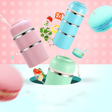 The 3 Cute Japanese Bowl Stainless Steel Thermal Leak - Proof Portable Bento Box Kids Picnic Food Container Box To School