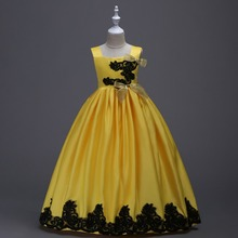 Flower Carters Girls Dress Children Wedding Party Dresses Strapless Princess Frocks Ankle Length Teenage Stage Clothing