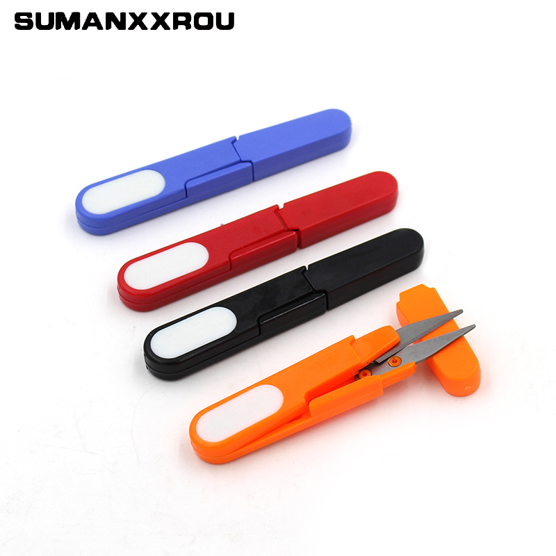 Scissors Fishing LinePortable Fishing Scissors Plastic Handle With Covers Stainless Steel Capped Line Cutter