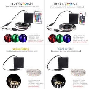 Image 5 - Светодиодная лента RGB с питанием от батарейки SMD 5050, Водонепроницаемая ИК радиочастотная лента с дистанционным управлением, питание от 4AA батарей, светодиодная лента