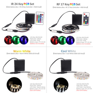 Image 5 - Ribbon RGB LED Strip Battery Operated SMD 5050 Tape Lights Waterproof IR RF Remote Control 4AA Battery Powered Fita LED Stripe