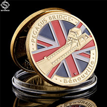 WWII-6.6.1944-D.Day normandia pegasus bridge 6th da airborne coleção de moedas de ouro