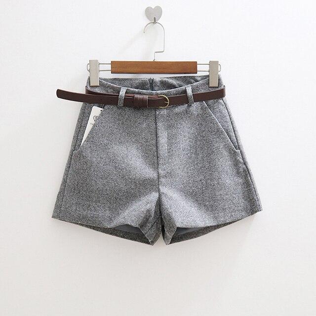 New Elegant Woolen Winter Slim Wide Leg Shorts 3