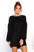 Above Knee Mini O-neck Solid Long Sleeve Dress A-line Casual Natural Lantern Sleeve Women Dress for Autumn