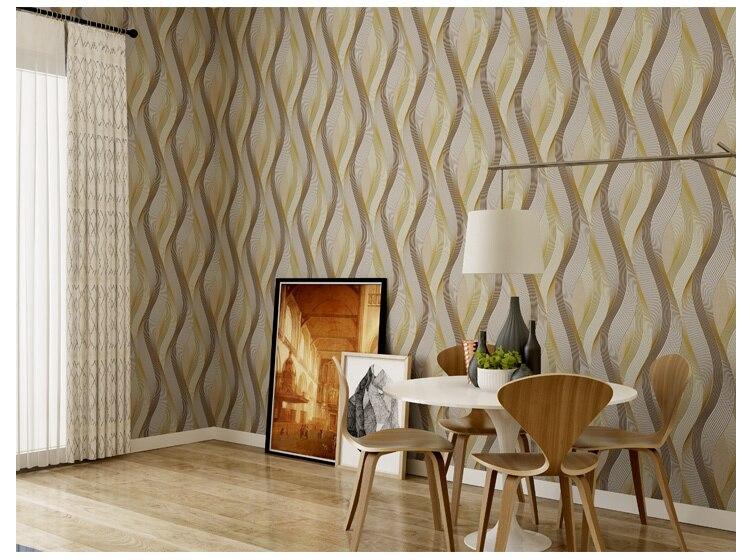 Café Pvc mode blanc argent rayé papier peint 3d moderne salon imperméable vinyle texturé rayure papier peint rouleaux - 5