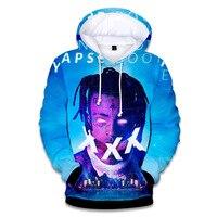 3D digital Xxxtentacion rapper print hooded sweatershirt Sweatshirts Elastic Front Pocket Outerwear Unisex Coat Autumn