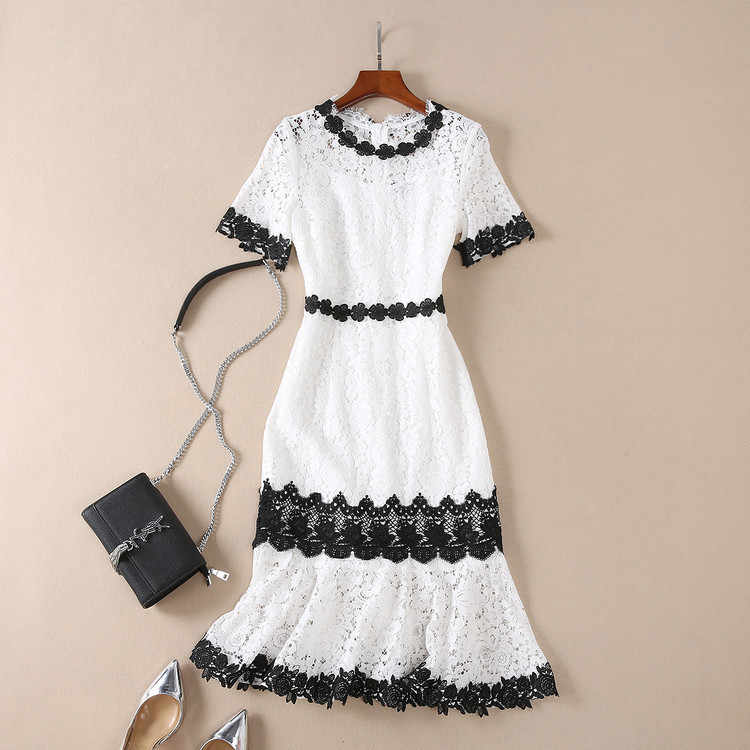 2018 Summer Sexy O Neck Party Mermaid Women Dress Black White Patchwork  Embroidered Lace Elegant Dress 3b87935c8cb5