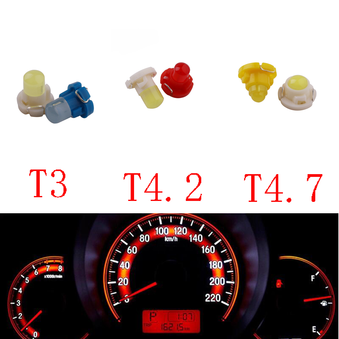 Dongzhen 10 PCS <font><b>T3</b></font> T4.2 T4.7 <font><b>12V</b></font> Car LED Dashboard Winding Light Bulbs Instruments Panel Neo Wedge Light Warning Indicator image