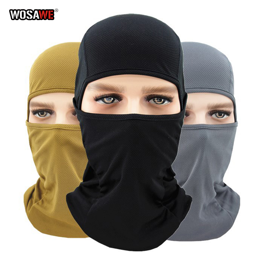 WOSAWE Motorcycle Balaclava Full Face Mask Breathable Airsoft Paintball Cycling Ski Shield Anti UV Men Sun Hats inside Helmet-in Protective Gears Accessories from Automobiles & Motorcycles