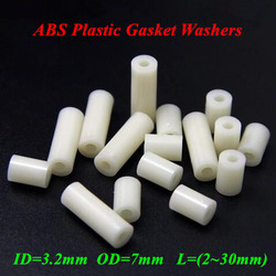 100pcs M3*L(L=1/2/3/4/5/6/8/10mm) ABS Nylon Round NON-Thread Standoff Spacer PCB Board Spacers ID=3.2mm OD=7mm Spacing Screws