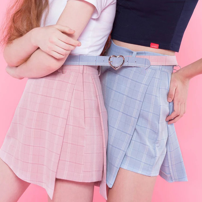 2018 Summer New High Waist Fashion Sweet Sashes Women Shorts Skirt Slim Shorts Skirts Casual Zipper Plaid Pink Blue Preppy Style