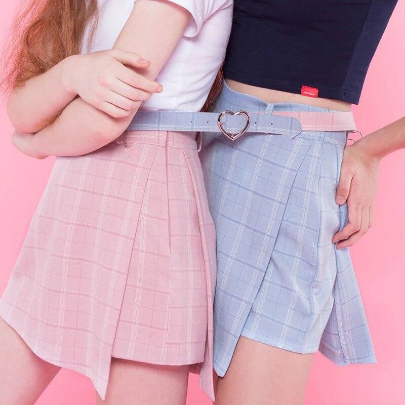 2018 Summer New High Waist Fashion Sweet Sashes Women Shorts Skirt Slim Shorts Skirts Casual Zipper Plaid Pink Blue Preppy Style