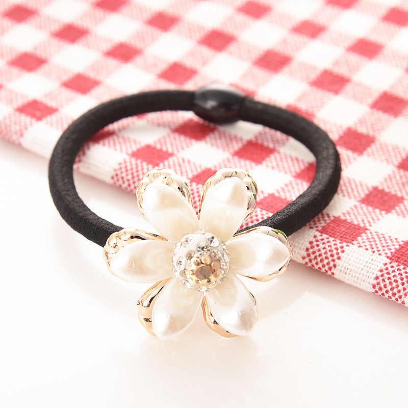 Fashion Big Imitation Pearl Hair Rope Holder Hairband for Women Girls Hair Ring Pearl Beads Crown Stretch Hair Band Headwear