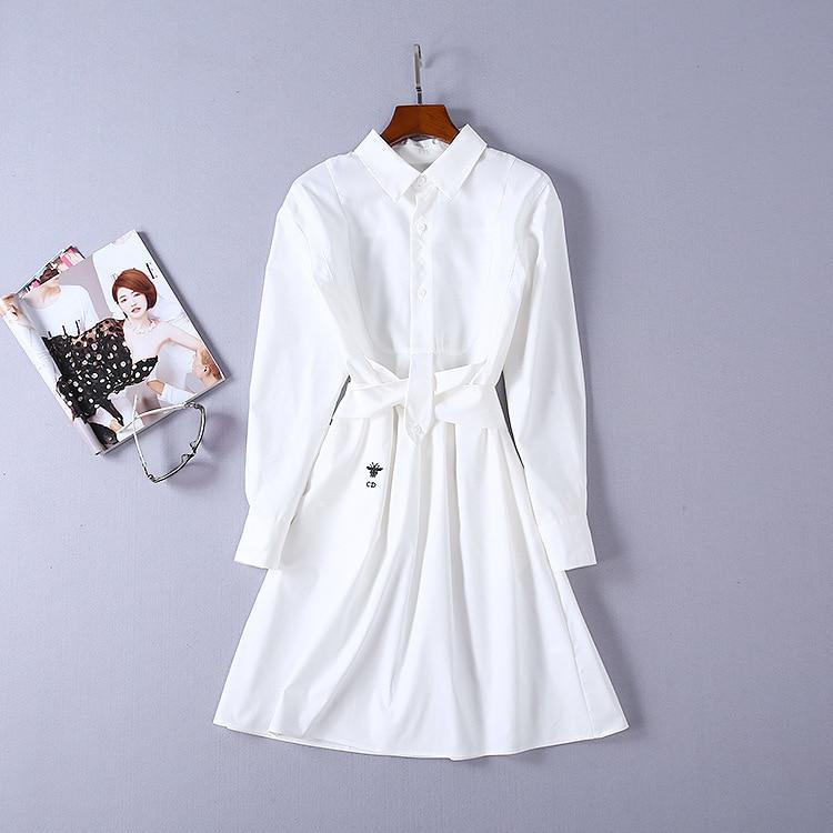2018 nouvelle robe de mode de haute qualité robes de piste d'été femmes marque chemise blanche robe de luxe vêtements pour femmes