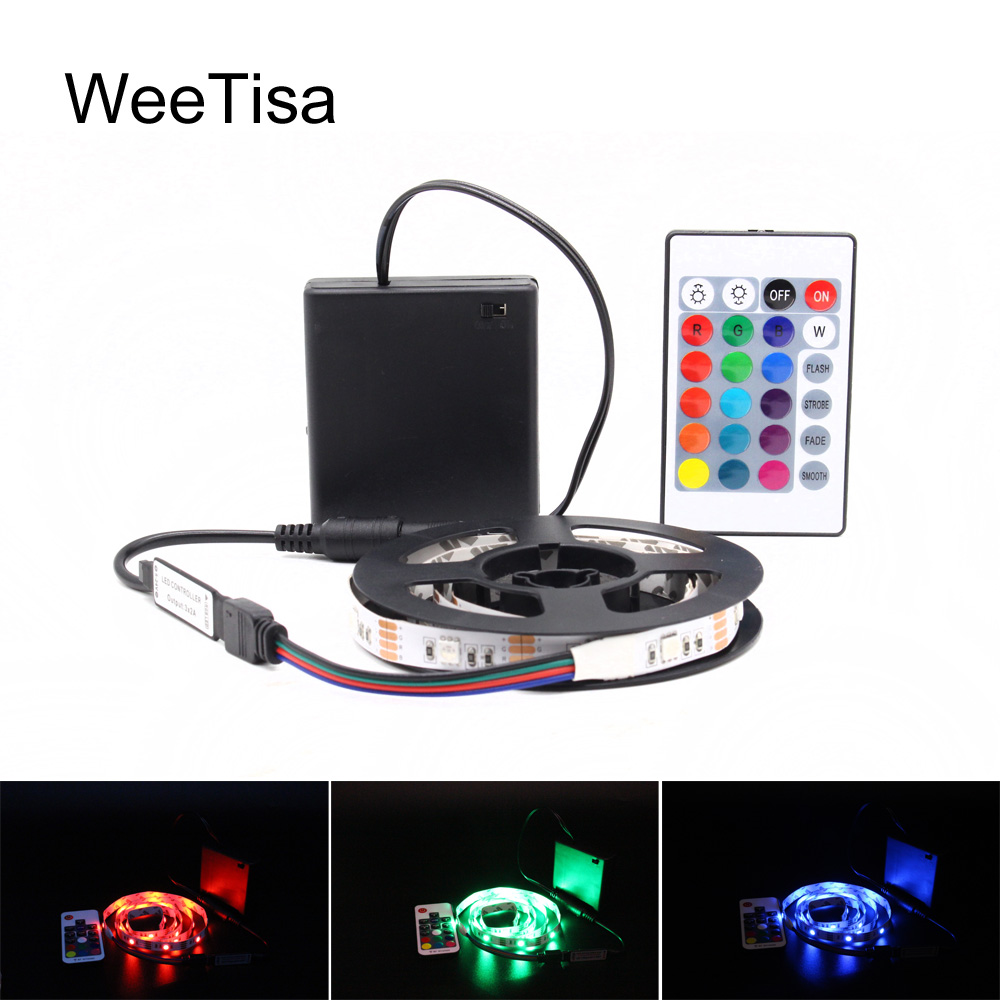 Ribbon RGB LED Strip Battery Operated SMD 5050 Tape Lights Waterproof IR RF Remote Control 4AA Battery Powered Fita LED Stripe