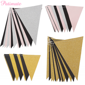 PATIMATE Triangle Flag Banner Gold Glitter Paper Pennant Bunting Sparkle Garland For Wedding Decoration Kids Birthday Party