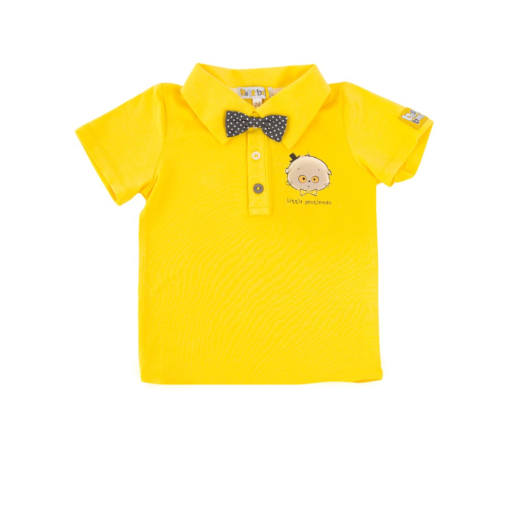 Basik Kids polo shirt with bow yellow kids clothes children clothing kids clothes children clothing abro 026176 37 nude