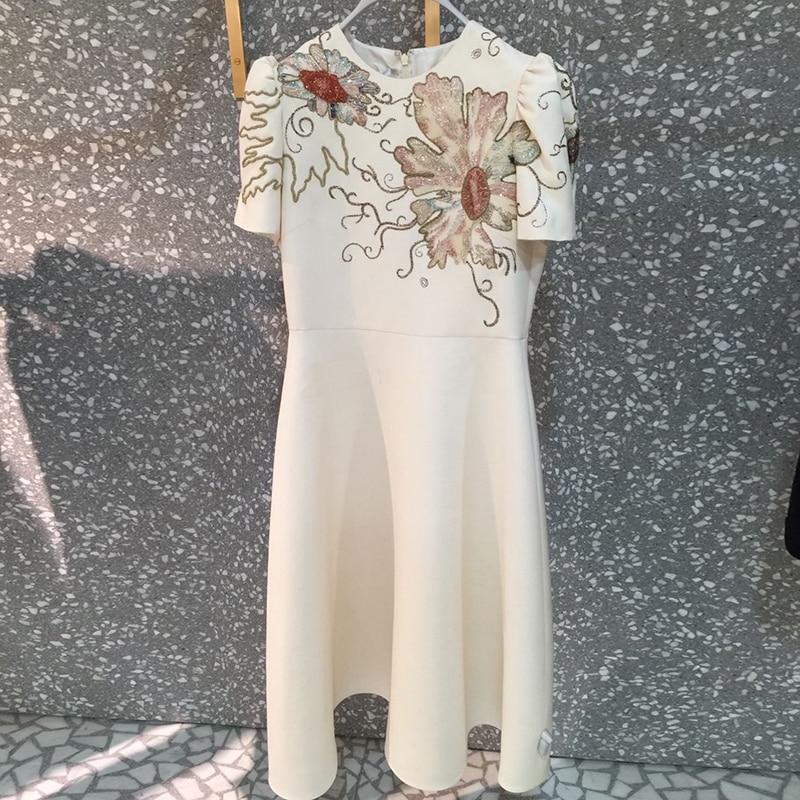 2018 Fashion Designer Runway Dress Summer Women Short sleeve Sequins luxurious Gold Line Embroidery Floral Elegant Dress