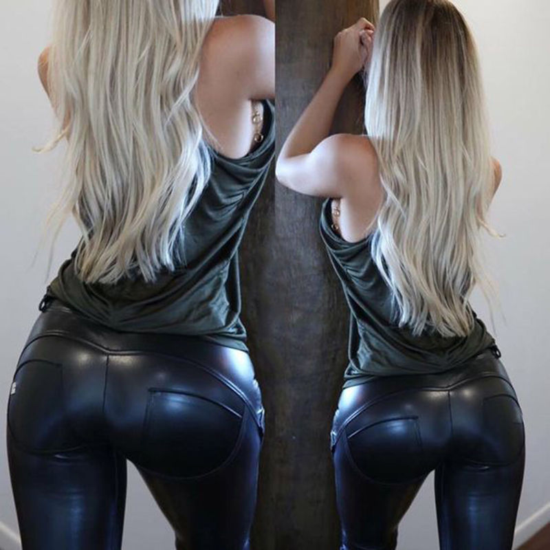 2019 New PU Leather   Leggings   Women Stylish Trousers Wet Look Trousers Ladies Push Up Bust Pants Slim Capris Plus Size