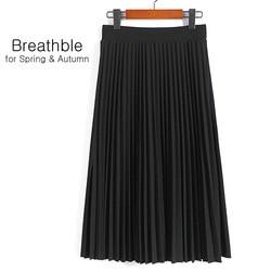 봄 가을 패션 여성의 높은 허리 주름 단색 길이 탄성 스커트 프로모션 레이디 블랙 핑크 파티 캐주얼 스커트