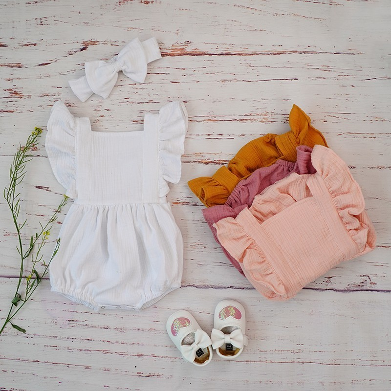 Baby Girls   Rompers   Organic Cotton Summer 2019 Double Gauze Puff Sleeve Bubble   Romper   Headband Hair Bow Clothes Set For Newborn
