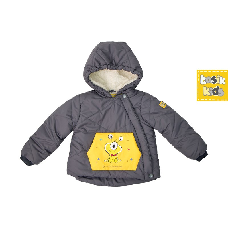 Basik Kids jacket parka with pocket gray kids clothes children clothing basik kids hooded jacket gray