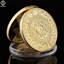 The Maya Gold Plated Coin Mexico Mayan Prophecy Calendar Antique Souvenir Vintage Polish Collectible Gifts