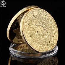 Moneda chapada en oro Maya México Profecía Maya calendario antiguo Souvenir moneda Vintage polaco moneda regalos coleccionables