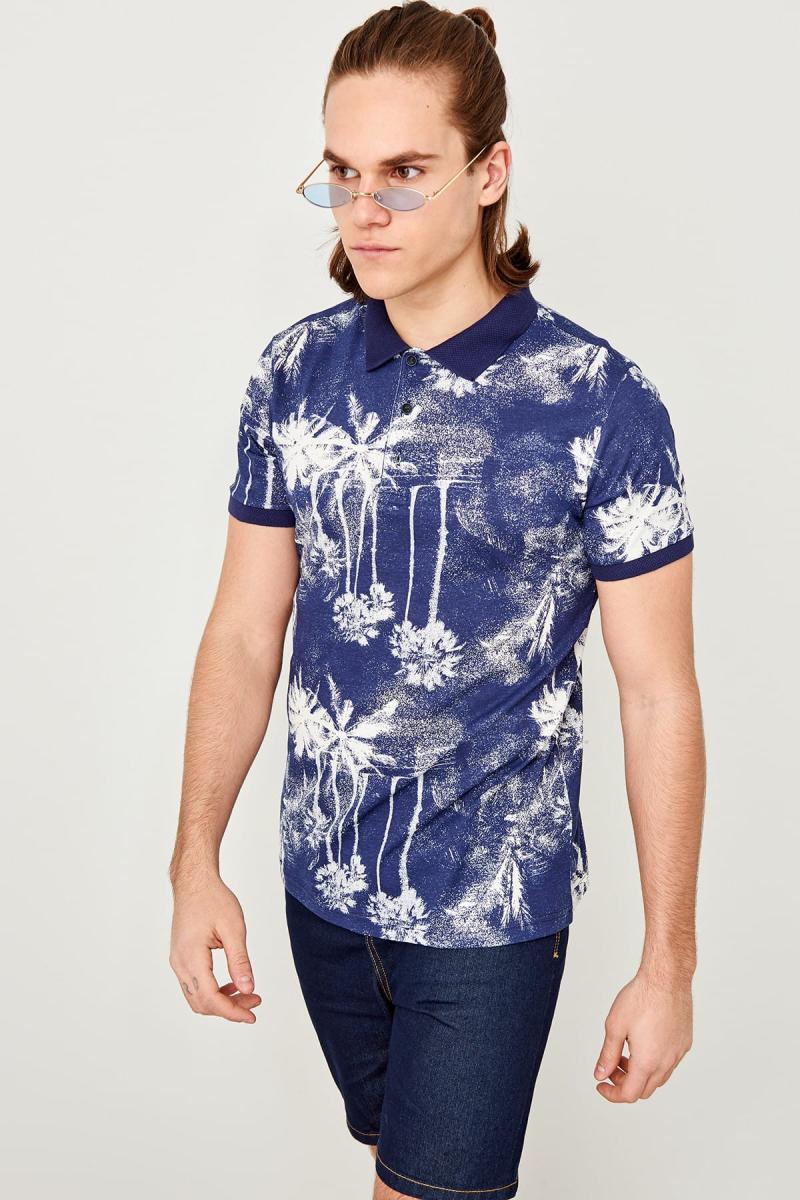 Trendyol Navy Blau Gedruckt Polo Kragen T-shirt Tmnss19hd0011 Hoher Standard In QualitäT Und Hygiene
