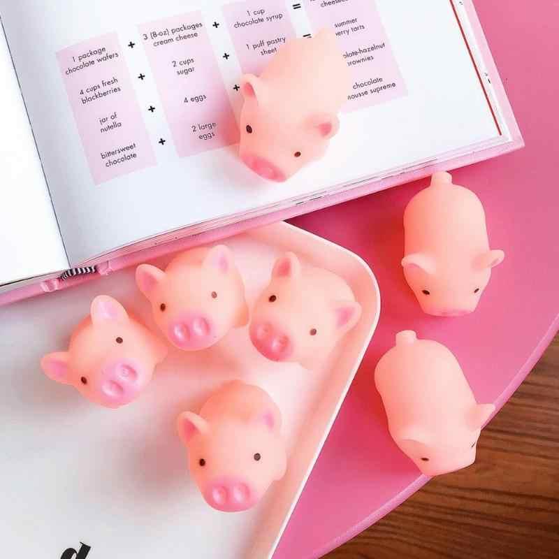 Merah Muda Kartun Mainan Squishy Bentuk Babi Anti-Stres Mainan Piggy Terdengar Stres Relief Mainan Silikon Memeras Mainan Anak Hadiah Bayi Lucu mainan Hadiah