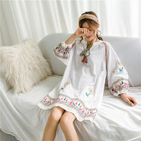 A holiday for autumn new national wind heavy embroidery cotton and linen color big yards lace dress female