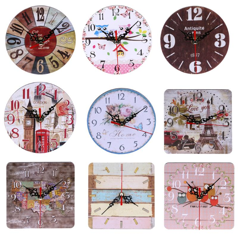Wall-Clock Living-Room-Decorations Wooden Square Rustic Kitchen Round Shabby Chic Vintage title=