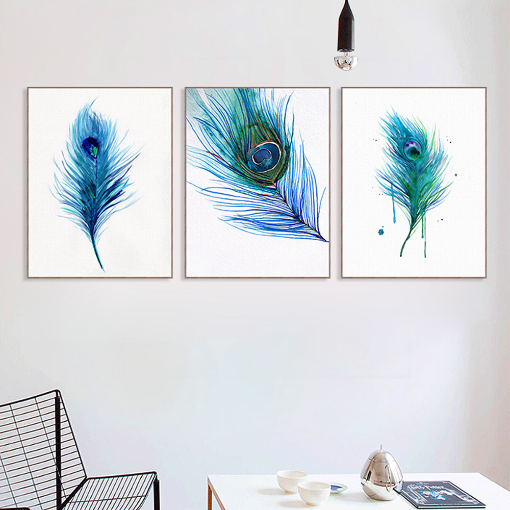 Poster Picture-Decoration Canvas Painting Can-Be-Customized Peacock Art-Print Beautiful